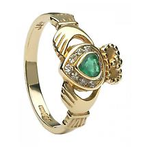 Claddagh Ring - Gold Claddagh with Emeralds and Diamonds