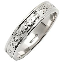 Irish Wedding Ring - Ladies Narrow Sterling Silver Corrib Claddagh Wedding Band