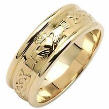 Irish Wedding Ring - Ladies Wide Corrib Claddagh Wedding Band