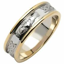 Irish Wedding Ring - Men's 14k Two Tone Yellow & White Gold Claddagh Wedding Band