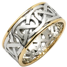 Irish Wedding Ring - Mens Celtic Knot Wide Pierced Sheelin Wedding Band with Yellow Gold Rims
