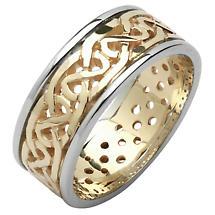 Irish Wedding Ring - Ladies Celtic Knot Pierced Sheelin Wedding Band Yellow Gold with White Gold Rims