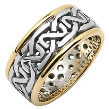 Irish Wedding Ring - Ladies Celtic Knot Pierced Sheelin Wedding Band with Yellow Gold Rims