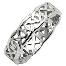 Irish Wedding Ring - Celtic Knot Narrow Pierced Sheelin Ladies Wedding Band