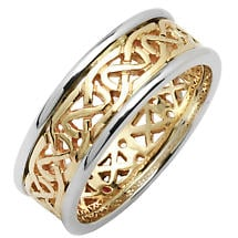 Irish Wedding Ring - Mens Celtic Knot Narrow Pierced Sheelin Wedding Band Yellow Gold with White Gold Rims