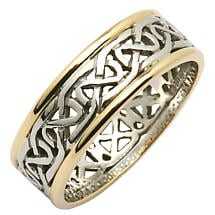 Irish Wedding Ring - Mens Celtic Knot Narrow Pierced Sheelin Wedding Band with Yellow Gold Rims