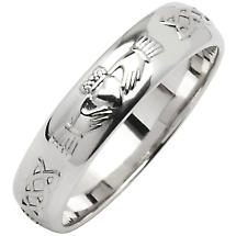 Irish Wedding Ring - Men's Narrow Claddagh Celtic Knot Corrib Wedding Band - Comfort Fit