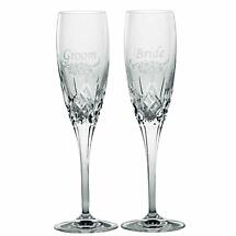 Galway Irish Crystal | Bride & Groom Flute Floral Spray Pair