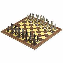 Irish Pewter Celtic Chess Set & Wooden Board