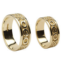 "Irish Rings - Yellow Gold Gra Go Deo ""Love Forever"" Wedding Band Set"