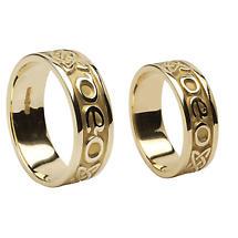 "Irish Rings - Yellow Gold Gra Go Deo ""Love Forever"" Wedding Band Set"