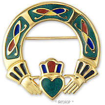 Celtic Brooch - Enamel Celtic Claddagh Brooch