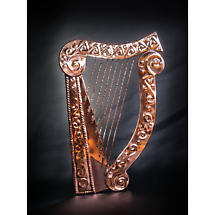 Large Copper Celtic Harp Wall Plaque
