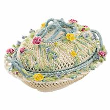 Belleek Pottery | Masterpiece Collection Oval Covered Basket
