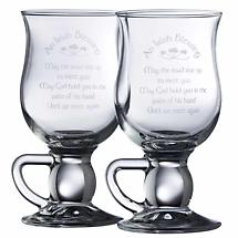Galway Crystal Irish Blessing Latte Glass Mug Pair