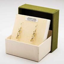 Irish Earrings | 14k Yellow Gold with White Gold Claddagh Celtic DNA Earrings