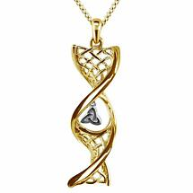 Irish Necklace | 14k Yellow Gold With White Gold Trinity Knot Celtic DNA Pendant