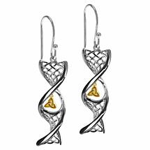 Irish Earrings | 14k Sterling Silver With Yellow Gold Trinity Knot Celtic DNA Earrings