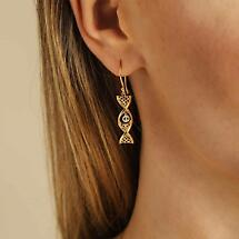 Irish Earrings | 14k Yellow Gold With White Gold Tree of Life Celtic DNA Earrings