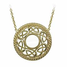 Irish Necklace | Gold Plated Sterling Silver Celtic Knot Round Pendant