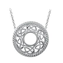 Irish Necklace | Rhodium Plated Sterling Silver Celtic Knot Round Pendant
