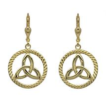 Irish Earrings | Gold Plated Sterling Silver Round Trinity Knot Earrings