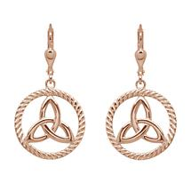 Irish Earrings | Rose Gold Plated Sterling Silver Round Trinity Knot Earrings