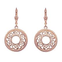 Irish Earrings | Rose Gold Plated Sterling Silver Round Celtic Knot Earrings