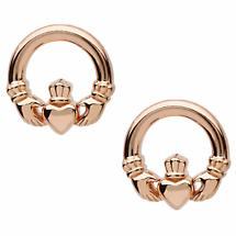 Irish Earrings | Sterling Silver Rose Gold Claddagh Stud Earrings