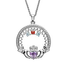 Claddagh Necklace | Mother's Family Birthstone Sterling Silver Pendant