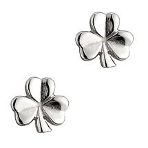 Irish Earrings | Sterling Silver Shiny Stud Shamrock Earrings