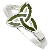 Irish Ring | Connemara Marble Sterling Silver Trinity Knot Ring