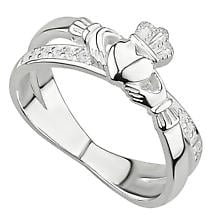 Irish Rings | Sterling Silver Ladies Crystal Crossover Claddagh Ring