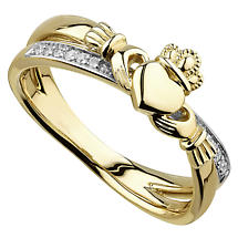 Irish Rings | 14k Gold Ladies Diamond Crossover Claddagh Ring