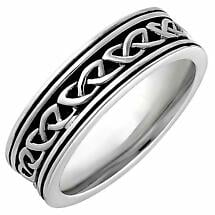 Irish Rings | Sterling Silver Ladies Oxidized Celtic Knot Ring