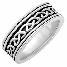 Irish Rings | Sterling Silver Mens Oxidized Celtic Knot Ring