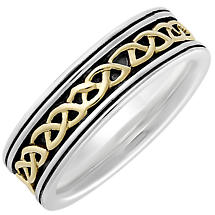 Irish Rings | 10k Gold & Sterling Silver Ladies Oxidized Celtic Knot Ring
