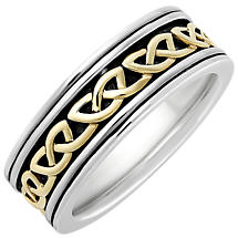 Irish Rings | 10k Gold & Sterling Silver Mens Oxidized Celtic Knot Ring