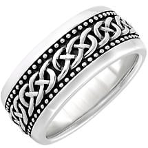 Irish Rings | Sterling Silver Oxidized Large Celtic Knot Ring
