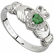 Irish Rings | Sterling Silver Ladies Green Crystal Heart Claddagh Ring
