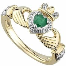 Irish Rings | 14k Gold Emerald & Diamond Ladies Claddagh Ring