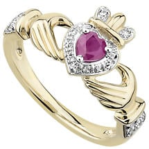 Irish Rings | 14k Gold Ruby & Diamond Ladies Claddagh Ring