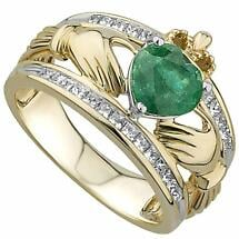 Irish Rings | 14k Gold Large Emerald & Diamond Ladies Claddagh Band
