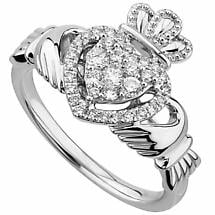 Irish Rings | 14k White Gold Diamond Heart Ladies Claddagh Ring