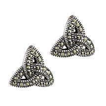Irish Earrings | Sterling Silver Marcasite  Celtic Trinity Knot Earrings