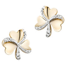 Irish Earrings | 14k Gold Diamond Shamrock Stud Earrings