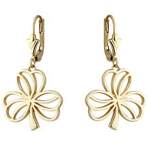 Irish Earrings | 14k Gold Open Shamrock Earrings