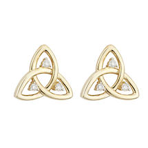 Celtic Earrings | 14k Gold Diamond Trinity Knot Stud Irish Earrings