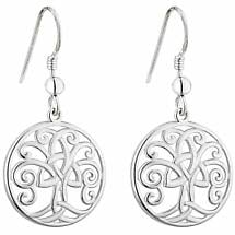 Irish Earrings | Sterling Silver Trinity Knot Celtic Tree of Life Drop Earrings