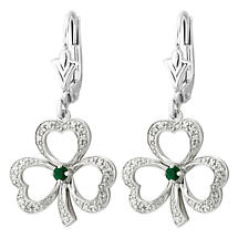 Irish Earrings | 14k White Gold Diamond & Emerald Drop Shamrock Earrings
